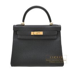 ケリー エルメス ケリー28/内縫い ブラック トゴ ゴールド金具 HERMES Kelly bag 28 Retourne Black Togo leather Gold hardware