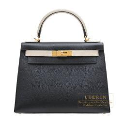 ケリー エルメス パーソナルケリー28/外縫い ブラック/クレ トゴ ゴールド金具 HERMES Personal Kelly bag 28 Sellier Black/Craie Togo leather Gold hardware