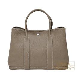 ハンドバッグ エルメス ガーデンパーティPM エトゥープ ネゴンダ シルバー金具 HERMES Garden Party bag PM Etoupe grey Negonda leather Silver hardware