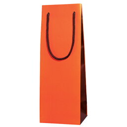 ボトルキャリーバッグ ワイン用 手提げ紙袋 ブライトバッグ ワインLL オレンジブラウン 10個セット/品番:ZJ126OR【ワイン用 手提げ紙袋】<ワインバッグ/ペーパーバッグ/ギフト/包装用品/シャンパン