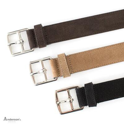 【 SALE30 】Anderson's 【アンダーソンズ】(Italy) スエードベルト (巾30mm) ・art. A1956 ・col. dark brown , beige , black (ダークブラウン , ベージュ , ブラック)