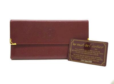 【USED】Cartier カルティエ 財布 財布 ワインレッド レザー 札入れ 4880