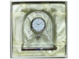 ミキモト 置き時計 MIKIMOTO ミキモト 置き時計 スタンド時計 シルバー ガラス パール クオーツ クロック 四角置時計