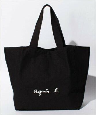 アニエスべー バッグ トートバッグ ロゴ ブラック agnes b