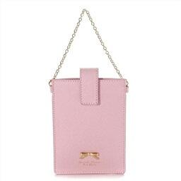 サマンサタバサ サマンサタバサプチチョイス シンプルリボンプレート 携帯用チェーン付ポーチ ピンク