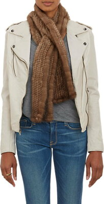 Barneys New York Mink Pull-Through Scarf