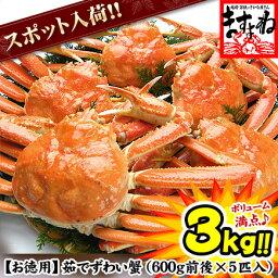ズワイガニ お徳用![数量限定スポット品]ボイルずわい蟹/姿3kg前後[良型600g×5匹入り][送料無料](かに/カニ/蟹/ずわい/ズワイ)【楽ギフ_のし】