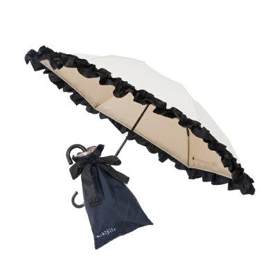 白川みきのおリボンUVカット涼感折りたたみ日傘 -15℃ 晴雨兼用 紫外線カット99% UVカット ミキフィーユ mikifille 白川みき日傘 白川みき傘 おリボンUVカット日傘 白川みきのおリボンUVカットフリル日傘 折畳傘 折り畳み傘
