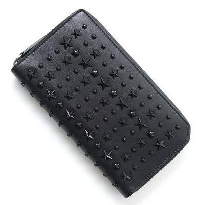 1d3a614441d7 ジミーチュウ JIMMY CHOO ラウンドファスナー 長財布 小銭入れ付き ブラック メンズ 財布 ウォレット レザー