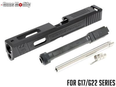 Guns Modify G17 SA CNC Tier 1 アルミスライド&ステンレス ボックスフルート スレッドアウターバレルセット◆TiCNコート G22にも SAI風
