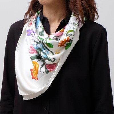 グッチ GUCCI シルク スカーフ フローラプリント 花柄 ホワイト系基調 022796 3G001 9000