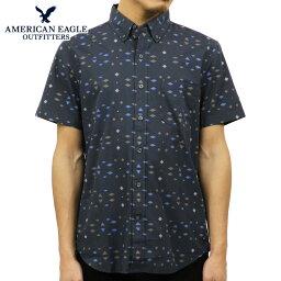 アメリカン・イーグル・アウトフィッターズ アメリカンイーグル シャツ メンズ 正規品 AMERICAN EAGLE 半袖シャツ AE Printed Short Sleeve Button-Down 0154-8640 NAVY D00S20