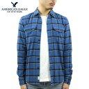 アメリカンイーグル シャツ メンズ 正規品 AMERICAN EAGLE 長袖シャツ ネルシャツ Blue Cotton Tall Shirt 2151-1343-426