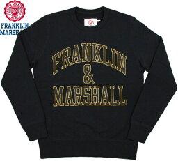 フランクリンマーシャル FRANKLIN&MARSHALL/フランクリンアンドマーシャル Men's round neck sweatshirtメンズ クルーネック スウェットシャツ/アップリケアーチロゴ入り、トレーナー BLACK(ブラック)/FLMVA080W15
