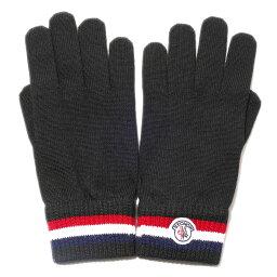 モンクレール 手袋 メンズ モンクレール ニットグローブ(999ブラック)トリコロール リブニット【イタリア製】 MONCLER メンズ 2018-19AW 手袋