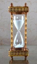砂時計 砂時計 30分計 ヨーロピアンアンティーク風 クラシカル (ブロンズ枠×白)