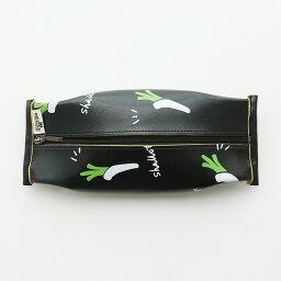 ネギペンケース ペンケース 食品パッケージ風 レザータッチ (ブラック×ネギ)