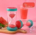 砂時計 砂時計 15分計 フルーツの輪切りのモチーフ付き ポップ ビタミンカラー (スイカ)