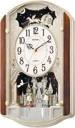 からくり時計 オルゴールからくり時計 (電波掛時計)  リズム時計(日本製) 4MN463-RH23 [送料無料]