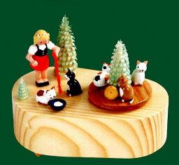 エルツ オルゴール ドイツ エルツ山地の手作り 木のオルゴール 少女と子猫 ドイツ製 7862 [送料無料]
