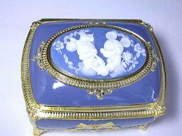 ディズニー アンチモニーオルゴール アンチモニー(カメオ)ジュエリーボックスオルゴール「ミッキー&ミニー」角型ブルー サンキョー(日本)CB-147B