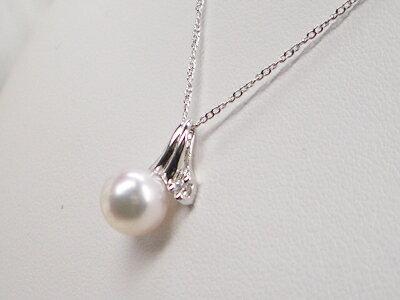 アコヤ真珠 デザインペンダント(チェーン付) シルバー   ギフト プレゼント
