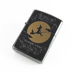 魔女の宅急便 名入れジッポ zippo 月光をバックに魔女と猫 キャット ブラックニッケル加工 zippo ジッポー ネコ フカシロ Moonlight Witch ムーンライトウィッチFM 1201S284