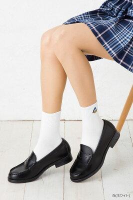 クルーソックス ドナルド ワンポイント刺繍 14cm丈 ( 紺 白 )(23-25cm) スクールソックス ディズニー レディース Donald Duck disney socks ladies
