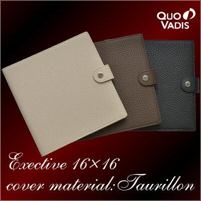QUOVADIS 16×16cmカバー 牛革カバー:トリオン ノワール/カカオ/エクリュ (クオバディス/Taurillon タウリロン/手帳/レザー/エグゼクティブサイズ)