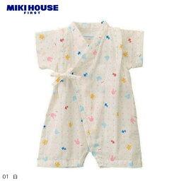 ミキハウス ベビー服 (メール便可)MIKIHOUSE FIRST(ミキハウスファースト)♪『金魚&どうぶつ柄甚平オール』♪ベビーオールロンパース《出産祝い・プレゼントに!》日本製 (42-1304-842)