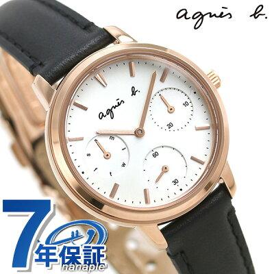 アニエスベー 時計 サム 32mm レディース 腕時計 革ベルト FCST989 agnes b. シルバー×ブラック【あす楽対応】