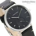 シャルル ホーゲル 腕時計(メンズ) シャルルホーゲル 時計 M-3シリーズ 38mm デイト メンズ 腕時計 M-3 V0720.S03 Charles Vogele ブラック【あす楽対応】
