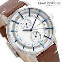 シャルル ホーゲル 腕時計(メンズ) シャルルホーゲル 時計 M-4シリーズ 41mm デイデイト メンズ 腕時計 M-4 V0721.S02 Charles Vogele シルバー×ブラウン【あす楽対応】