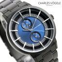 シャルル ホーゲル 腕時計(メンズ) シャルルホーゲル 時計 M-5シリーズ 41mm デイデイト メンズ 腕時計 M-5 V0722.B34 Charles Vogele ブルー×ブラック【あす楽対応】