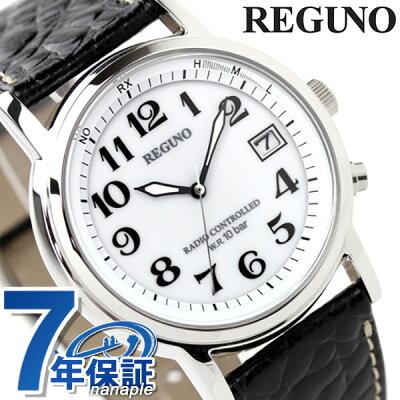 シチズン レグノ メンズ ソーラー 電波 クラシック ストラップ ホワイト×ブラックカーフ CITIZEN REGUNO KL7-019-10 腕時計 時計【あす楽対応】