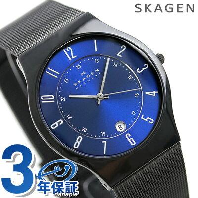 スカーゲン 時計 メンズ チタン T233XLTMN SKAGEN ブルー×ブラック 腕時計【あす楽対応】