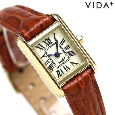 ヴィーダ プラス VIDA+ ミニ レクタンギュラー レディース 83905 LE-BR 腕時計 クリーム 時計