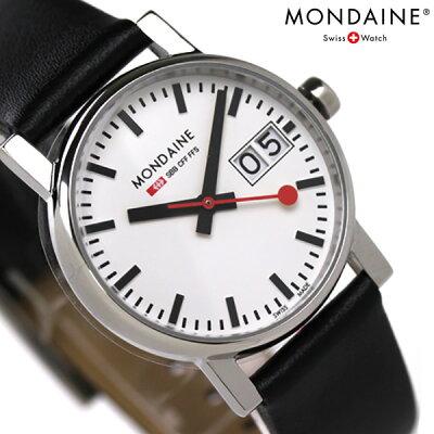 【店内ポイント最大43倍 26日1時59分まで】 MONDAINE モンディーン 腕時計 Evo エヴォ ビッグデイト レディース ブラックレザー×ホワイト A669.30305.11SBB 時計