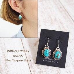 ピアス インディアン ジュエリー ナバホ ターコイズ シルバー ピアスINDIAN JEWELRY NAVAJO Silver&Tuq Earringsメール便可