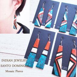 ピアス 【INDIAN JEWELRY】 インディアン ジュエリー Santodomingo モザイク インレイ ピアス