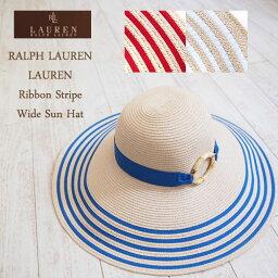 ラルフローレン SALE ラルフローレン レディース リボン ワイド ハット/ホワイト/ブルー/レッドLAUREN by RalphLauren Hat