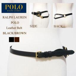 ラルフローレン ラルフローレン ポロ レディース レザー ベルト/ブラック/ブラウンPOLO by Ralph Lauren Leather Belt