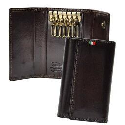c8e3b42f203c ミラグロ キーケース・キーホルダー 6連キーケース ポケットあり イタリア製ヌメ革 チョコ 牛革