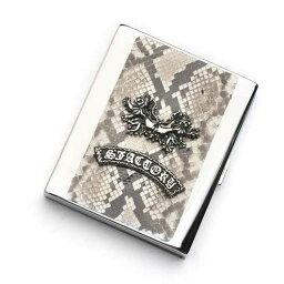 メタル S'FACTORYエスファクトリー メタル シガレットケース 20本タイプ パイソン(ヘビ革) ロング レザー 革 10本以上収納 蛇 タバコ
