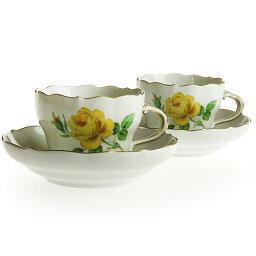 マイセン ティーカップ マイセン (Meissen) イエローローズ コーヒーカップ&ソーサー ペア C0004