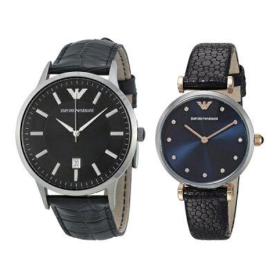 047bf12b2f エンポリオアルマーニ 時計 メンズ レディース ペアウォッチ 腕時計 クラシック ジアンニティーバー 43mm 32mm ブラック ネイビー