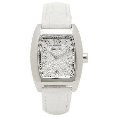フォリフォリ 時計 レディース 腕時計 24ミリ ホワイト レザー シルバーケース ホワイト文字盤 S922 White ビジネス 女性 ブランド 時計 誕生日 お祝い プレゼント ギフト お洒落