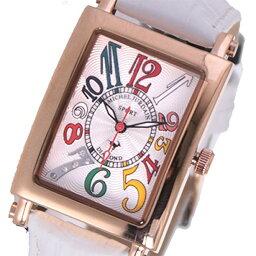 ミッシェルジョルダン 【無料特典付き!】ミッシェルジョルダン スポーツ 時計 レディース 腕時計 ローズゴールドケース 白 ホワイト レザー ダイヤモンド カラフル 長方形型 革 SL-3000-6PG 時計 誕生日 お祝い ギフト