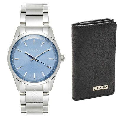 6b4ba57958 カルバンクライン CK セット商品 腕時計&キーケース メンズ ボールド シルバーステンレス ブラックレザー 6