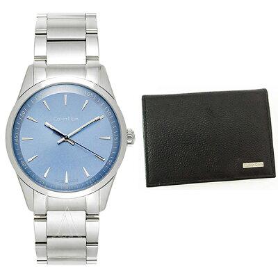 d2199bcca4 カルバンクライン CK セット商品 腕時計&名刺入れ メンズ ボールド シルバーステンレス ブラックレザー カード